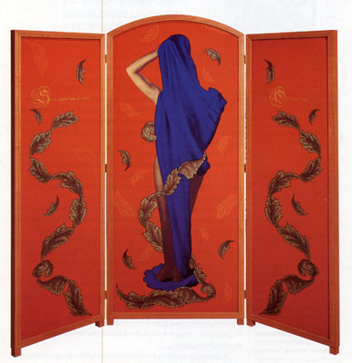 View of the Africa series screen with image of a woman partly covered in blue cloth