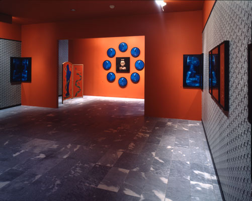 Installation view of the Africa series showing gallery room with vibrant red-orange walls, framed images, and standing screen