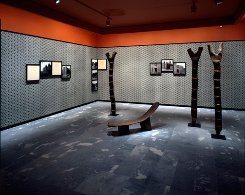 Installation view of the Africa series showing gallery room wtih vibrant red-orange walls, framed images, and standing screen