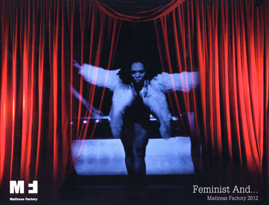 Cover of the Feminist and catalog featuring         a video still from installation Lincoln, Lonnie, and Me by Carrie Mae Weems