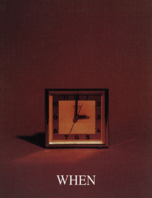 Image from the Who, What, Where, When series featuirng a small square clock