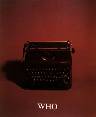 Image from the Who, What, Where, When series featuring a old manual typewriter