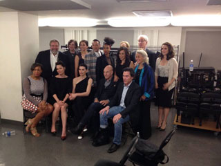 Photo of Carrie with Meryl Streep, Rosie Perez, Esperanza Spalding, Patrick Stewart,         Julianna Margulies, Tina Fey, Kevin Kline