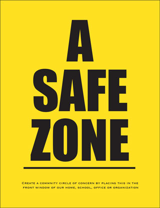 Bright yellow background with the words Safe Zone in black