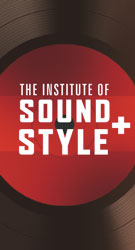 Image of the Institute for Sound and Style poster featuring image         of a vinyl record