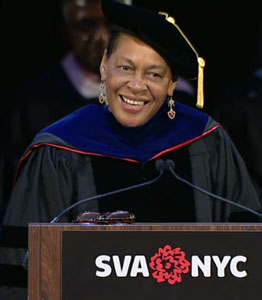 Photo of Carrie giving commencement address at SVA