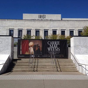 Image of the exhibition poster outside the Frist Center