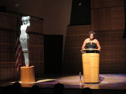 Carrie accepting Lucie Foundation Award